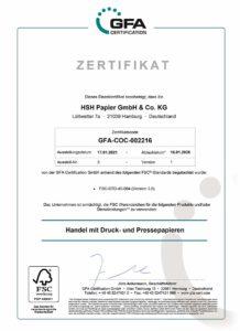 HSH Papier FSC Zertifikat