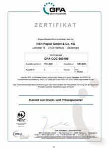 HSH Papier PEFC Zertifikat