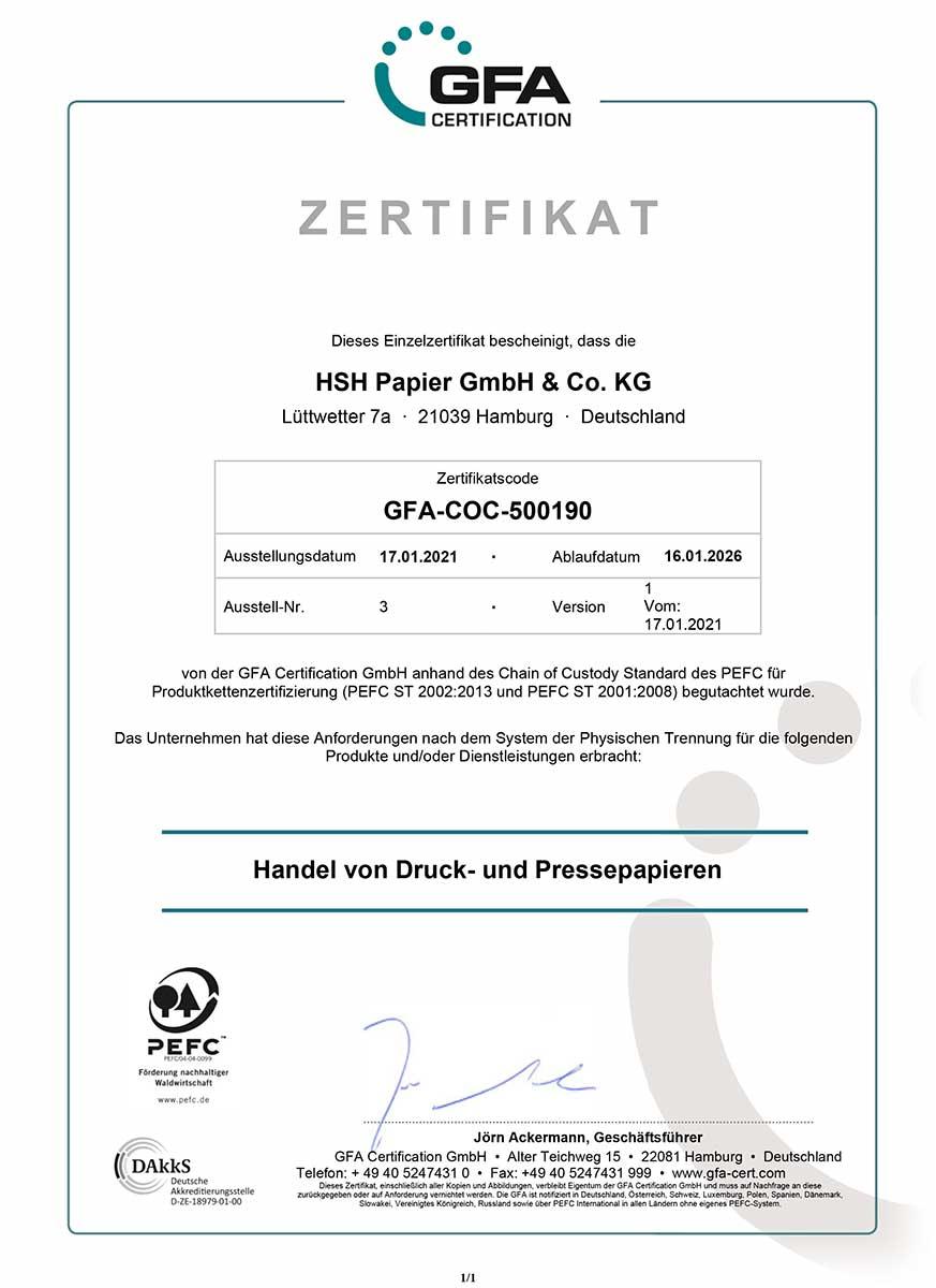 PEFC Zertifikat